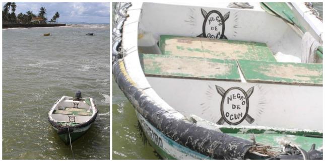 A boat bobbing in the water as my ferry arrives at Mar Grande, Itaparica. 'Negao de Ogum' = 'Denial of Ogum'